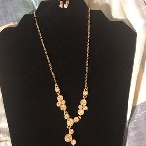 Gold diamond necklace with your matching erring